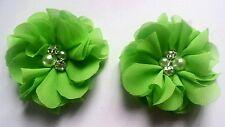 """2 Ragazze / Signore Small Verde Lime 2 """"flower.voile Capelli Clip Pearl Diamante Centro"""