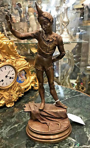 A.BARYE (FRENCH) CIRCUS PERFORMER BRONZE STATUE (CIRCA 1880)