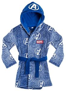 Marvel Dressing Gown with Glow in The Dark Avengers Logo for Boys Girls Teens