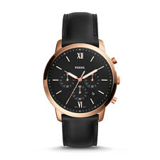 FOSSIL FS5381 Neutra Chronograph Rose Gold Black Leather 44mm Japan Men's Watch