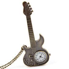Cute Cool Guitar Shape Quartz Pocket Watch Necklace Pendant Women Men Kids Gift