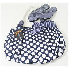Canvas Beach Bag & Flip Flops Set Blue White Spot Stripe Size 3 4 New £35