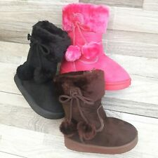 Infant Toddler Girls Boots Faux Fur Suede Size 6-11 Quality