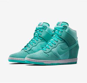 Nike WOMEN'S Dunk Sky Hi Essential HIDDEN WEDGE Aqua Teal  BLUE SIZE 9 NEW