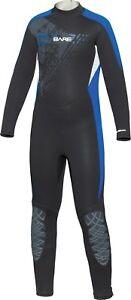 Bare Youth Kids Manta 7/6mm WetSuit Full Sun Guard Swim All Size 6-16 Blue