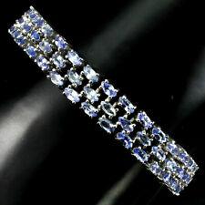 Sterling Silver Genuine Blue Tanzanite Gemstone Three Row Bracelet 7 Inch