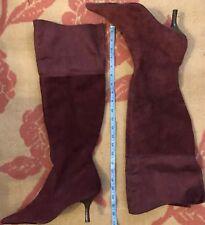 Ladies Kitten Heel Boots High Long Leg  Genuine Suede Leather Size 7/40 Dark Red