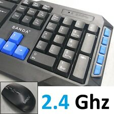 TECLADO Y RATON INALAMBRICO GAMING NEGRO PARA MAC PC WINDOWS WIRELESS GAMER PRO