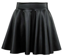 Womens Ladies Sexy Casual Flared Mini High Quality Faux Leather Skater Skirt