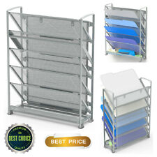 Document Files Holder Organizer Office Supplies Rack 6 Tier Mesh Silver Large