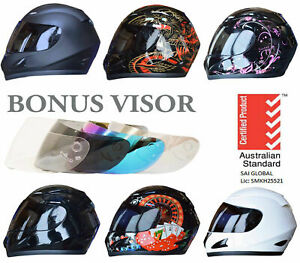NEW FULL FACE MOTORCYCLE HELMET ADULT & FREE EXTRA VISOR ROAD BIKE MOTOR BIKE