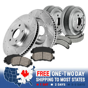 Front Brake Rotors + Ceramic Pads Rear Drums + Shoes For Jeep Wrangler Cherokee