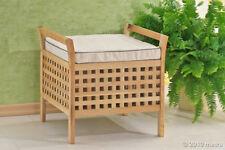 Hocker mit Sitzkissen Wäsche Sitzhocker Walnuss Holz