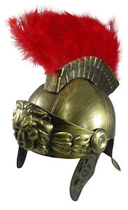 Adult Gold Roman Helmet Spartan Greek With Red Feathers Armor Gladiator Costume