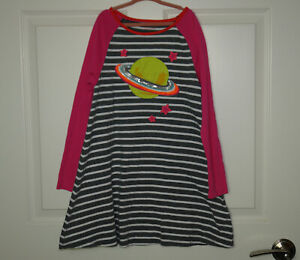 Girl's Mini Boden Striped & Solid Space Applique Dress Grey White Pink Size 7-8