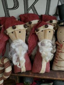 Primitive Santa ornies Set Of 3 CHRISTMAS DECOR 7 inches