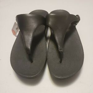 Women's Fitflop SkinnyToe Thong Wedge Sandals size 11 BLACK  leather NEW