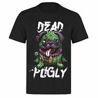 DEAD PUGLY SO CUTE ZOMBIE HALLOWEEN PUG DOG PUPPY PH75 UNISEX BLACK T-SHIRT