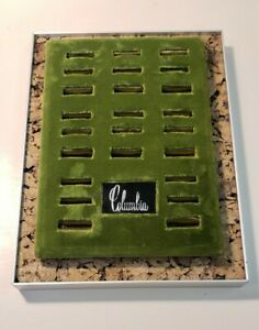 Vintage Columbia Jewelry Store Dealer Display Velvet Cork Ring Tray Stand