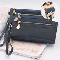 Women High Capacity PU Wallet Double Zipper Phone Handbag Card Coin Purse TP