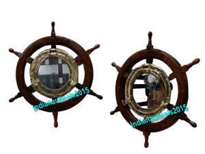 "Wood Ship Wheel w/ Brass Porthole Center Nautical Wall Decor / Mirror 24"""
