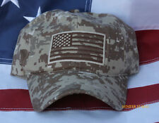 USA US FLAG HAT EMBROIDERED OD DIGITAL DESERT TAN CAMOUFLAGE CAP PIN UP VETERAN