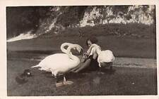 Lady feeding swans and ducks, RP, 1930s.  Qr1400