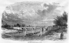 WORCESTERSHIRE New Bridge over the Severn at UPTON - Antique Print 1854