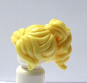Lego 1 Female Girl Minifigure Hair Wig   Short Wavy Curly Yellow Blonde Ponytail