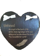 BABY SLATE MEMORIAL HEARTS PERSONALISED IN MEMORY, GRAVE, LOVED ONE, MEMORIES