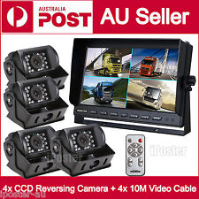 "Caravan 4x Camera 4PIN System 9"" Quad Monitor 12V/24V Reversing CCD Camera Kit"
