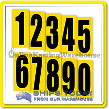 GO KART RACE NUMBERS 8 PACK KARTELLI ADHESIVE NUMBERS YELLOW BACKGROUND BLACK