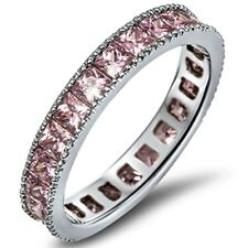 Princess Cut Eternity 4 Color Wedding Band .925 Sterling Silver Ring Sizes 4-12