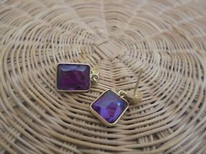 Vintage AMETHYST Earrings 14k Yellow GOLD 10 carat total weight