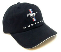 FORD MUSTANG CLASSIC PONY LOGO BLACK CURVED BILL ADJUSTABLE SLOUCH HAT CAP RETRO