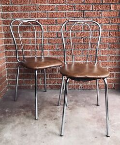 Set Of 2 Vintage Chrome Vinyl Chairs - Mid Century Chrome Bistro Chairs MCM
