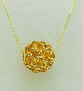 GENUINE 4.26 Cts YELLOW TOPAZ SLIDER PENDANT NECKLACE 14k GOLD * new With Tag