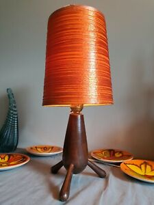 Small Vintage Tripod Lamp Wood Wooden 3 Legged Base only - not shade