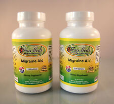 Migraine Aid, FeverFew Leaf, All Natural Relief- 200 tablets (2x100).Made in USA