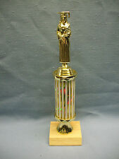 female graduate trophy gold and white column wood base