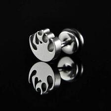 1pc Titanium Steel Men's Earring Fireworks Pattern-M1