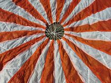 1952 C-9 Orange/White USAF Military Parachute Canopy Cut Ropes Very Nice