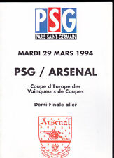 1993/94 PARIS SAINT GERMAIN V ARSENAL 29-03-1994 Cup Winners Cup Semi-Final