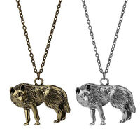 Vintage Occident Unisex Silver Wolf Charms Pendant Long Chain Necklace Jewelry