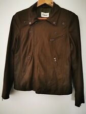 Ganni Cropped Brown Soft Leather Biker Style Jacket Size Small