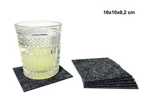 Filzuntersetzer quadratisch grau Filz Glasuntersetzer Tassenuntersetzer
