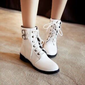 Womens Gothic Buckle Motorcycle Boots Outdoor Lace Up Riding Ankle Boots College