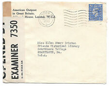 UK Censored Cover WWII 1943 to US American Outpost in Great Britain Corner Card