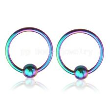 "PAIR 16G~3/8"" Titanium Anodized Surgical Steel Captive Bead Ring Ears Labret"