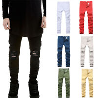 Mens Skinny Slim Fit Ripped Biker Pants Zipper Distressed Ripped Denim Jeans